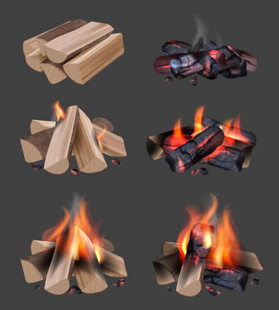 Campfire flame. Outdoor camping realistic collection with bonfire bright burning fire decent vector illustrations set