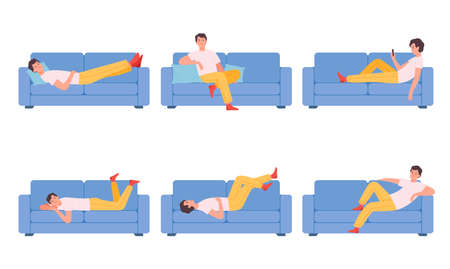 Man on couch. Relaxing different poses characters sitting on sofa person dreaming thinking sleeping nowaday vector cartoon illustrations collection Vetores