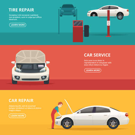 Car repair banners. Workers at automobile workshop service maintenance car with mechanic tools. Vector flat pictures place for text. Illustration of auto workshop service, repair automobile