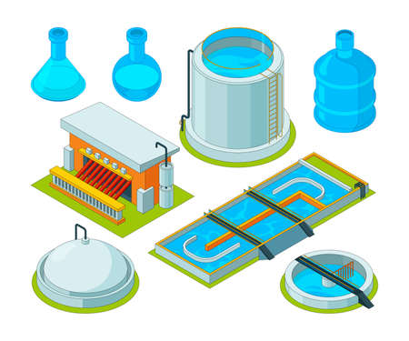 Water cleaning. Watering treatment waste separation transport chemical industrial water purification vector isometric pictures. Illustration of isometric reservoir and separator for water system