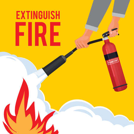 Extinguisher in hands. Firefighter with fire red extinguisher extinguish big flame vector attention placard. Illustration of instruction extinguishing, signboard hand hold extinguisher equipment