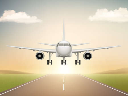 Jet aeroplane on runway. Aircraft takeoff from civil airline to blue sky realistic vector background illustrations. Travel plane in air, aircraft flight transportation
