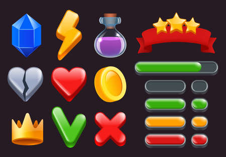 Game ui kit icons. Stars colored ribbons menus and status bars for online web or smartphone games interfaces vector 2d symbols. Gui for app play, ui progress star illustration