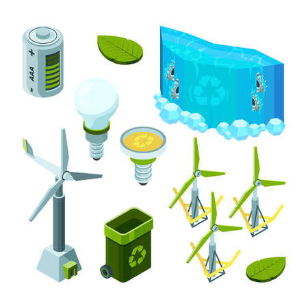 Green saving energy. Hydro power turbines ecosystem waste technology vector isometric illustrations. Energy power hydro, water electric industry