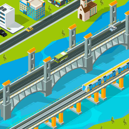 Town bridge landscape. Building footbridge pedestrian car overpass road viaduct vector isometric landscape. Bridge road isometric, railroad isometry and roadway illustration