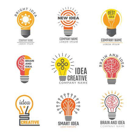 Ideas bulb logotypes. Colorful creative lamp shape smart symbols powerful vector logotypes. Illustration of bulb idea logotype, intelligence brain badge Logos