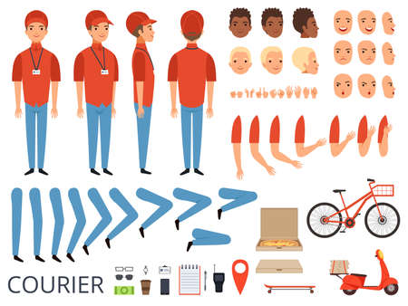 Pizza delivery animation. Fast food courier body parts with professional items box bike vector character creation kit. Courier creation kit hand and foot illustration Vector Illustratie