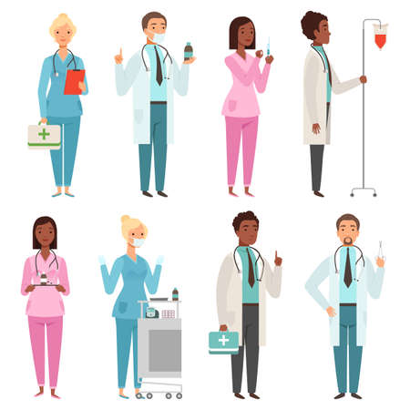 Medic characters. Hospital stuff male and female nurse doctors emergency workers vector mascots. Illustration of nurse and doctor, hospital professional staff Vettoriali