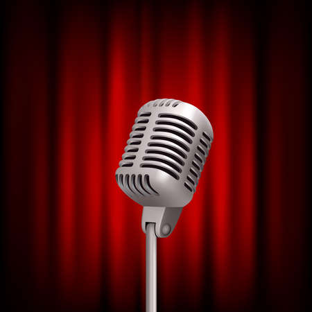 Retro microphone on stage. Professional stand up theatre red curtain broadcast mic vector vintage concept. Illustration of mike and voice, recor and broadcast