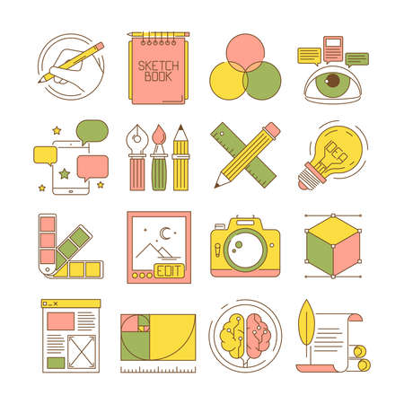 Design process icons. Packing art creative web products and services blogging retouch stationary vector flat pictures. Tools stationary, modeling and editor, pen and ruler illustration