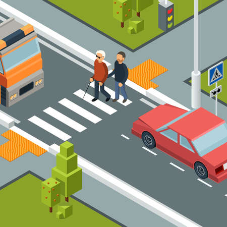 Care person crossing street. Urban city crosswalk of disabilities man with helper vector isometric concept. Care blind person cross road illustration