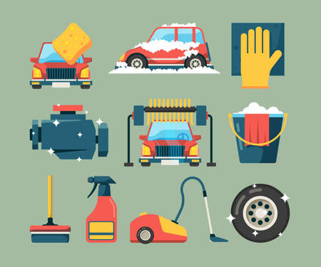 Car wash service. Dirty machines in clean building water bucket wiping sponge vector icons cartoon. Wash car service, clean transport equipment illustration