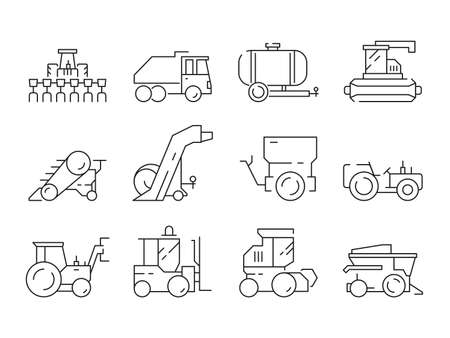 Farm vehicles. Tractor harvester buldozer village heavy machinery construction agriculture vector icons. Illustration of bulldozer and harvesting lorry, haymaking machine Vecteurs
