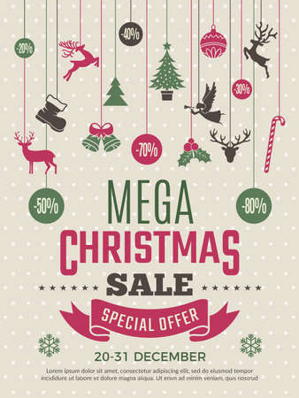 Christmas poster for big sales. New year voucher deals discounts vector coupon template. Illustration of mega banner sale for xmas and new year