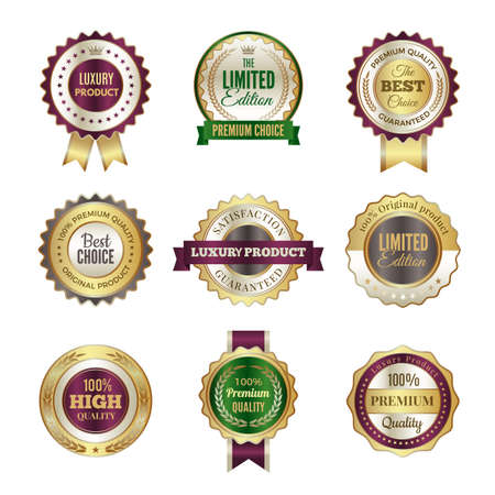 Luxury premium badges. High quality golden crown best choice labels and stamp vector template for certificate and documents. Luxury label promotion, best choice illustration Vetores
