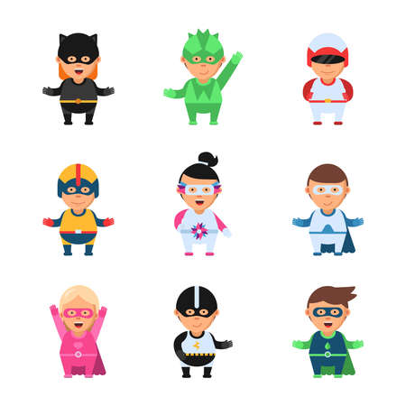 Little superheroes. Hero comic cartoon 2d figures of kids in colored mask game toy sprite vector characters isolated. Superhero mask and costume, super hero kids characters illustration