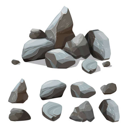 Cartoon mountain stones. Rocky big wall from gravels and boulders vector creation kit with various colored parts of stones. Illustration of rock stone pile, material granite solid, boulder and rocky Ilustração Vetorial