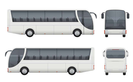 Travel bus realistic. Tourism autobus mockup cargo car front side view vector pictures set isolated. Bus auto car, truck passenger illustration
