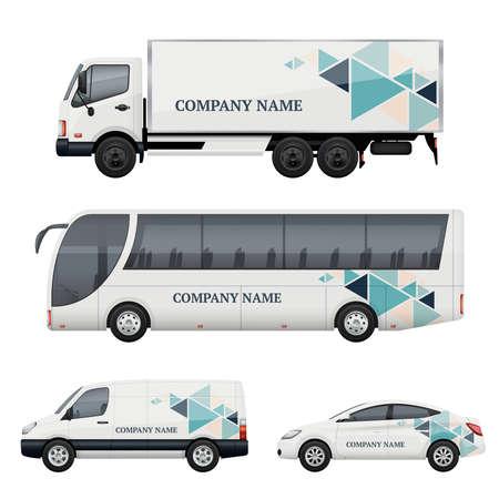 Vehicle branding. Transportation advertizing bus truck van car realistic vector mockup. Illustration of bus and van truck, vehicle car transport