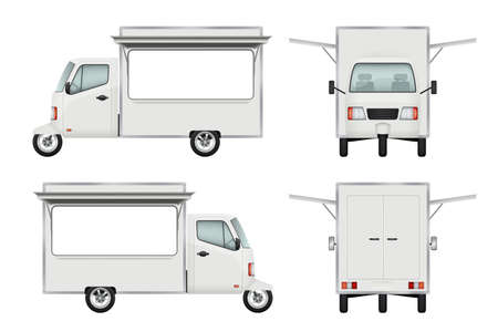 Food truck realistic. Fast food delivery motorbike transport open truck window catering service vector 3d illustrations. Illustration of delivery motorbike, car scooter Vektorové ilustrace