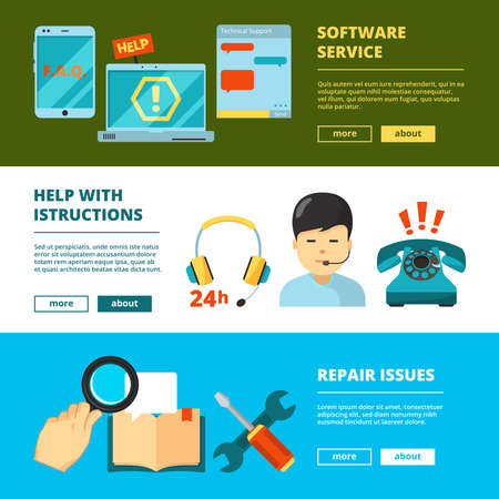 Customer service banners. Technical support online 24h help chat admin consultant in headset vector flat pictures. Illustration of support call and help service
