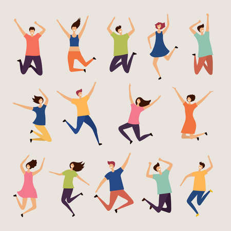 Jumping people. Young and adult laughing happy group characters vector flat illustrations. Happy character person, together jump people