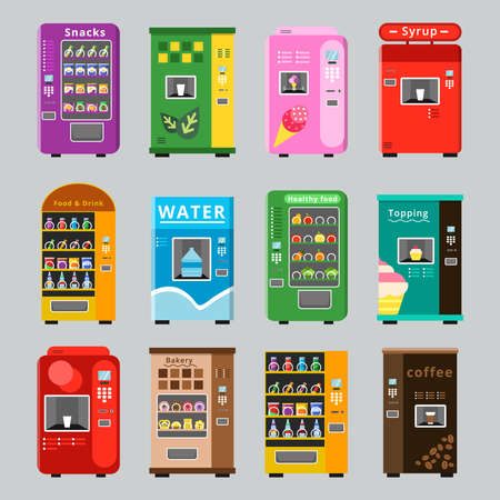 Vending machines collcetion. Merchandise concept with automatic selling various snacks water coffee and crisp food vector pictures. Illustration of retail vending machine with snack food Vektorgrafik