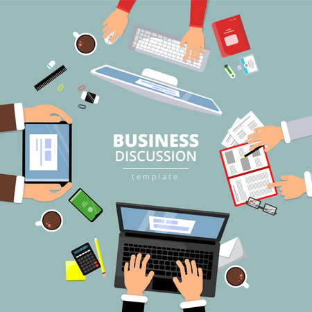 Business communication top view. Finance planning dialog between manager office items books laptop notice papers hands pointing vector. Illustration of office workspace, business meeting