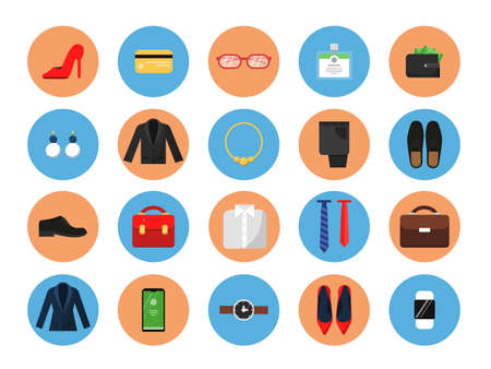 Business wardrobe icons. Office style clothes for male and female work casual fashion skirt suit jacket hat bag vector colored symbols. Male and female business wardrobe colored icons illustration