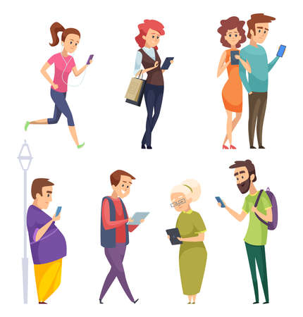Characters with gadgets. Man woman kids internet chatting by smartphones tablets smart pad cartoon vector people. Illustration of man and woman with smartphone, online using device