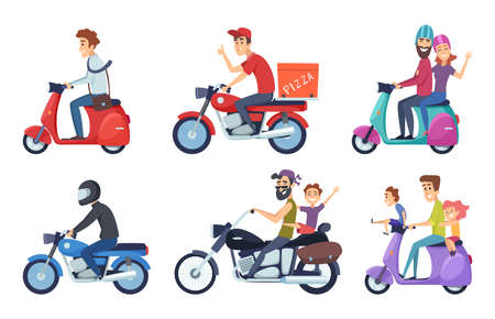 Motorcycle driving. Man rides with woman and kids postal food pizza deliver vector characters cartoon. Man and woman transportation on bike illustration Ilustração Vetorial