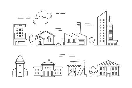 Urban buildings icon. Houses living rooms villa exterior suburban vector linear symbols isolated. Illustration of building city, house cityscape outline