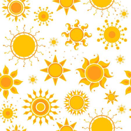 Sun seamless pictures. Weather summer sunshine pictures textile design vector hot pattern. Illustration of sun summer, orange warm pattern seamless Vecteurs