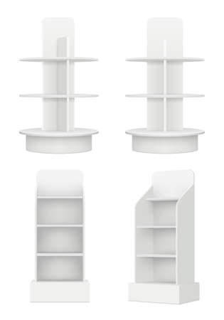 Blank racks with shelves. Market advertising empty modern information stands in market vector realistic picture. Empty shelf for exhibition, 3d rack for store promotion illustration Vector Illustratie