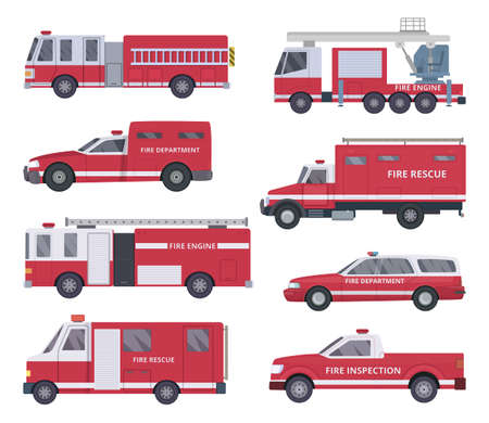 Fire engine. Collection with red emergency department lighting service van helicopter vector vehicles. Illustration of emergency firetruck with siren Vektorové ilustrace