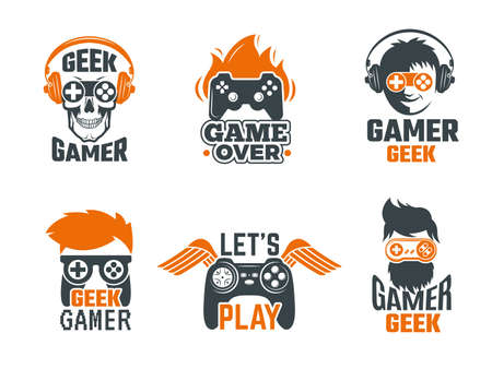 Gamers badges. Joystick video gaming old school labels for smart geek vector template. Logo for game club with joystick controller illustration