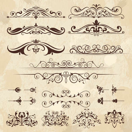 Vintage frame elements. Calligraphy borders and corners filigree classic retro vector design template. Illustration of menu decoration, ornament and filigree decorative frame border Vettoriali
