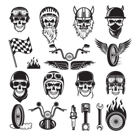 Biker symbols. Skull bike flags wheel fire bones engine motorcycle vector silhouettes. Illustration of motorcycle and biker skull