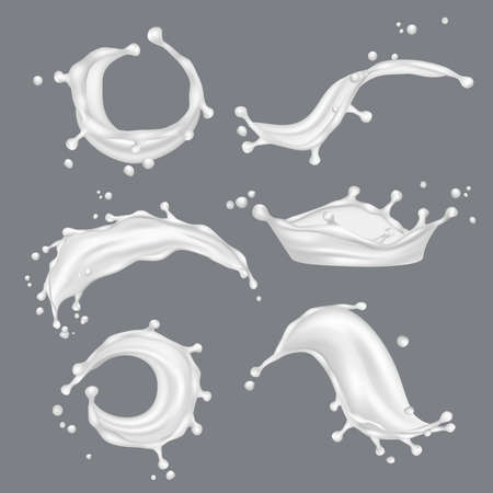 Milk splashes. White drop liquid fresh food from cow vector realistic template. Illustration of milk drink, liquid dairy realistic