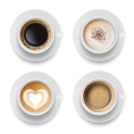 Coffee cup top. Hot milk espresso latte breakfast tea time vector realistic template. Illustration of coffee milk drink to breakfast morning Векторная Иллюстрация