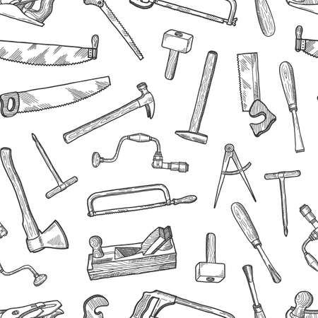 Vector hand drawn carpentry elements pattern or background illustration. Carpentry pattern with hand instrument, hammer and cutter