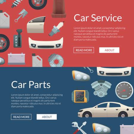 Vector car parts web banner templates illustration. Set of poster car service Vektorové ilustrace