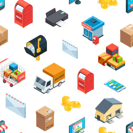 Vector isometric logistics and delivery icons pattern or background illustration. Delivery pattern seamless, transportation and distribution service