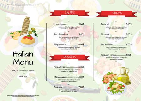 Vector cartoon italian cuisine cafe or restaurant menu template illustration. Restaurant menu banner with meal food