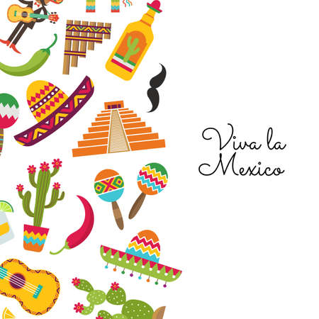 Vector flat Mexico attributes background with place for text illustration
