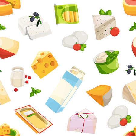 Vector cartoon dairy and cheese products pattern or background illustration. Colored milk food