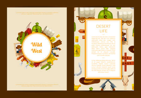 Vector cartoon wild west elements card or flyer template illustration. Web banner amd poster