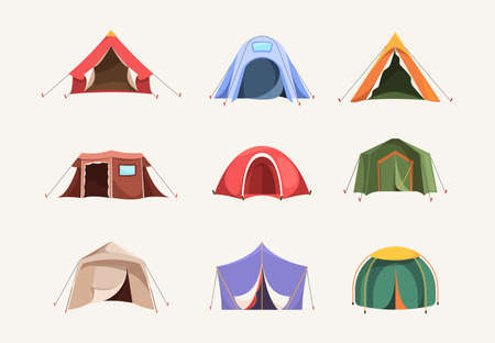 Tent colored. Outdoor house for travellers camping pyramid shelter adventures symbols backpack garish vector flat illustrations