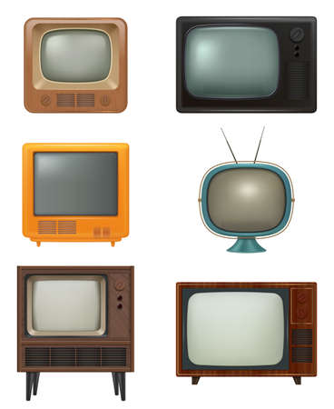 Retro tv. Household items of 80s style realistic electronic tv set news entertainment media movies decent vector pictures set