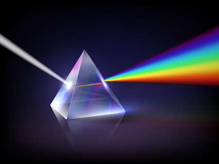 Spectrum refraction. Glass pyramid prism low poly abstract concept glow light refraction inside transparent geometrical form decent vector rainbow Vektorgrafik
